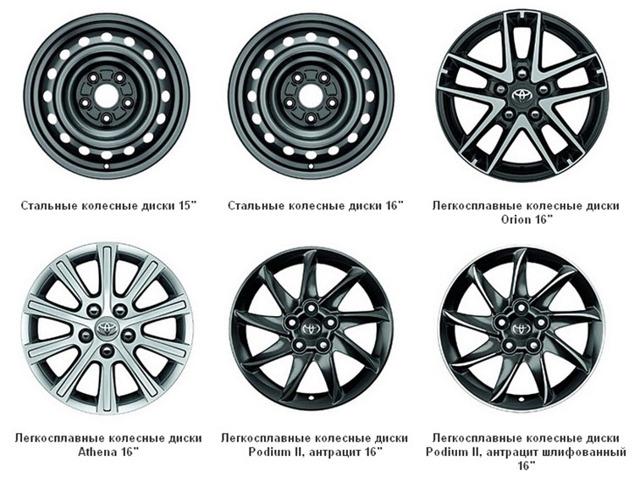 Диски на Тойота Королла 150 и 120 кузов, размеры и параметры литых дисков